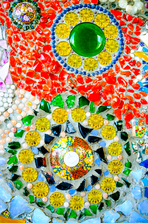 Colorful mosaic pattern background. Made from ceramic of Thai at Wat Phasornkaew in Thailand. Photo taken on: 29 November , 2016 Stock Photo