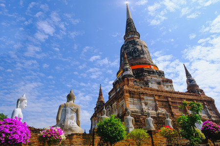 yai: Old pagoda with Blue Sky background at Wat Yai Chai Mongkhon Old Temple in Ayutthaya Historical Park Thailand.