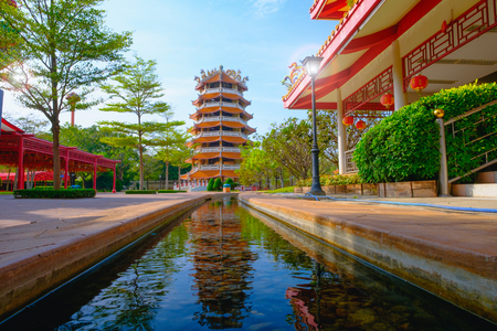 descendants: Chinese ancient Pagoda and rill under the sky at Dragon descendants Public museum. Editorial