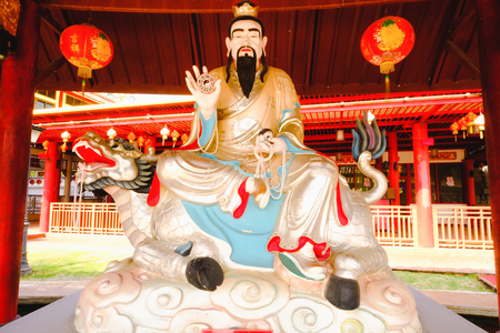 descendants: The Chinese god sculptures displayed in chinese temple at Dragon descendants Public museum