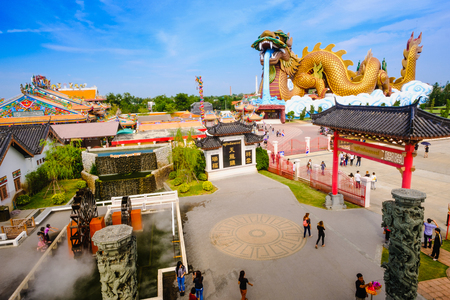 Suphanburi Thailand - January 7, 2017 : The Building at China town in Dragon Museum is landmark for thai chinese with gold huge dragon to be worship