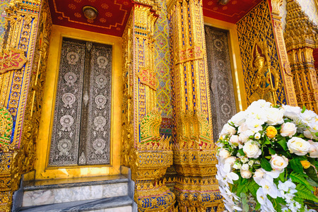 Traditional and architecture Thai style temple at Wat Ratchabophit Temple in Bangkok, Thailand Stock Photo