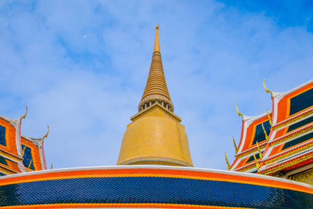 Traditional and architecture Buddhist pagoda at Wat Ratchabophit Temple in Bangkok, Thailand Stock Photo