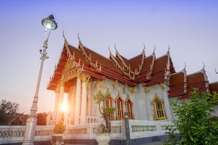 The Marble church of Buddhism in Wat Benchamabopit Dusitvanaram Temple in Bangkok,Thailand Stock Photo