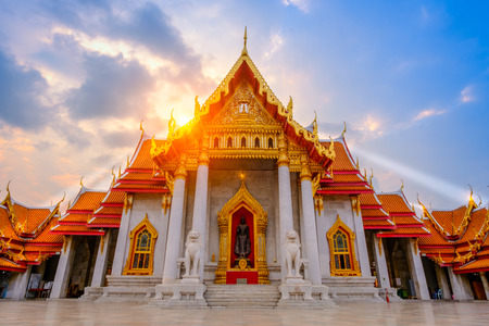 The Marble church of Buddhist in Wat Benchamabopit Dusitvanaram Temple in Bangkok,Thailand Stock Photo