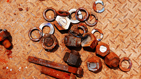 Bolts and nuts to put together a lot of rust. Stock Photo