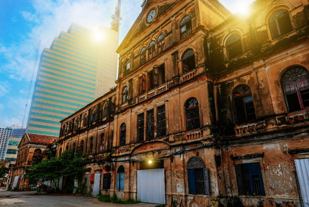 Old Architectural buildings. Old luxury mansions riverside Chao Phraya river , Bangkok, Thailand.