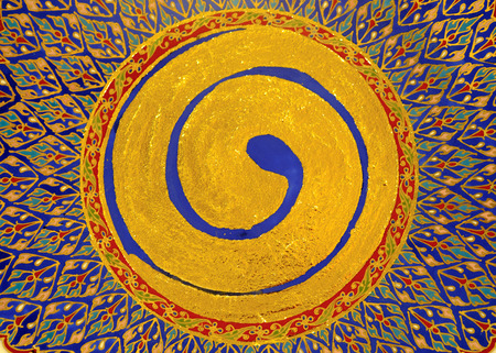 disengagement: Gold shining paint stains, zen circle. Stock Photo