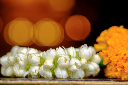 soft focus with Jasmine garland of flowers in Thai Traditional Style