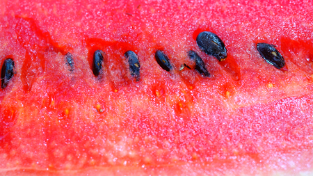 sliced watermelon: Slice of fresh and juicy red watermelon  close up image. Stock Photo