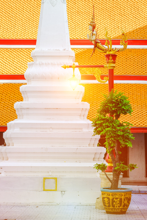 Beautiful and classic art lamp Post in thai temple ( Wat Mahathat ) , Bangkok ,Thaialnd.