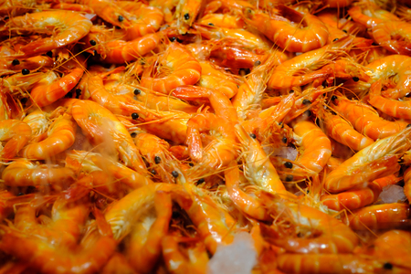 Cooked Scampi Prawn at fish market On Ice at fish market in Sydney, New South Wales, Australia.