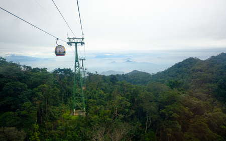 Danang, VIETNAM - 10 May 2018: Ba Na Hills in Danang Vietnam, Cable car opened to the public in March of 2009.