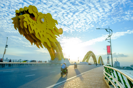 Da Nang, Vietnam - 10 May 2018: Dragon bridge of Han river in Vietnam.