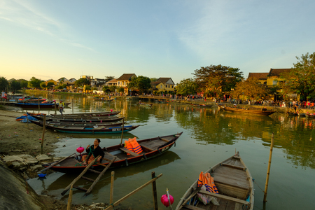 HOIAN, VIETNAM - 10 May 2018: Hoai river in ancient Hoian town , Vietnam. Hoian is recognized as a World Heritage Site by UNESCO.