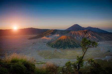 Mount Bromo volcanoes at sunrise in Bromo Tengger Semeru National Park, East Java, Indonesiaใ