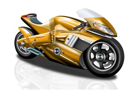 Modern, fast gold-colored motorcycle, isolated Stock Photo