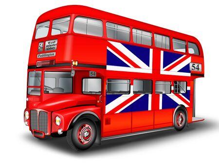 English double decker bus with British flag, optional Zdjęcie Seryjne - 137272498
