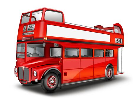 Red bus - cabriolet. English double decker bus, optional