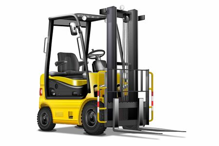 Forklift truck yellow, black, isolated Banque d'images