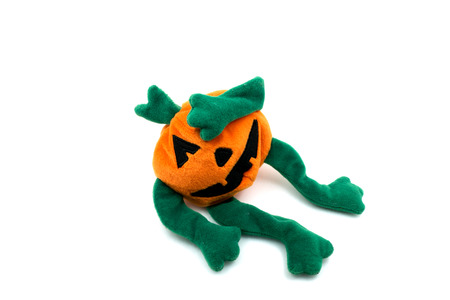 Halloween pumpkin rag doll, isolated on white background. photo