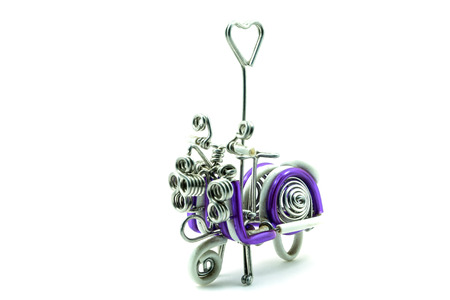 Scooter handmade Of aluminum wire  isolated on white background photo