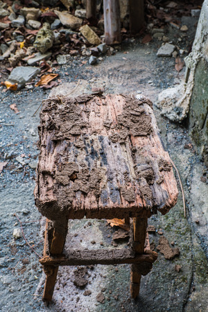 decaying: Decaying wooden chairs. Stock Photo