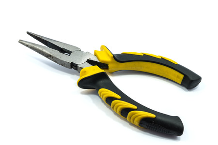 black grip: Yellow and black grip pliers on a white background. Stock Photo
