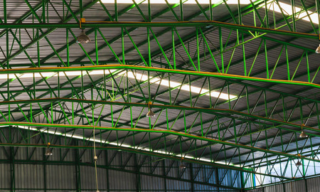 metal structure: Green metal roof structure with Channel light.