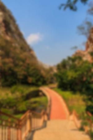 pathways: Blur pathways to mountain  in Stone Park Kao-ngu, Ratchaburi Thailand.