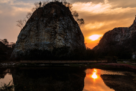 ratchaburi: Sunset over Stone mountain, Ratchaburi Thailand. Stock Photo