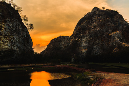 ratchaburi: Sunset over Stone mountain, Ratchaburi Thailand. Process color. Stock Photo