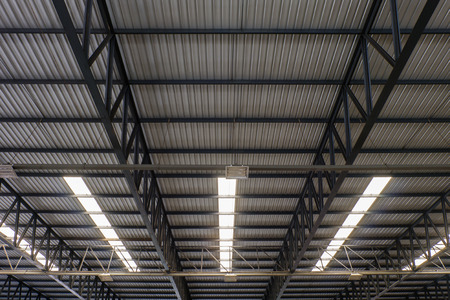 metal structure: Metal roof structure and Channel light Stock Photo
