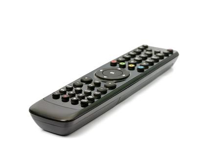 command button: remote control on white background. Stock Photo