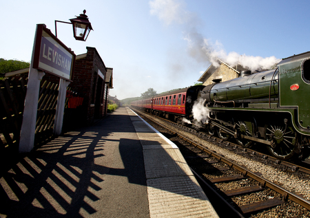 Steam train at Levisham Railway Station, Ryedale, North Yorkshire Moors. The station was opened in 1836 Éditoriale