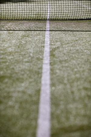 Tennis court and white markings on astro turf Stok Fotoğraf