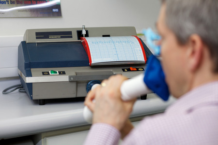 A spirometer is an apparatus for measuring the volume of air inspired and expired by the lungs. A spirometer measures ventilation, the movement of air into and out of the lungs.