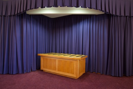 Interior of a Crematorium chapel with table for a coffin