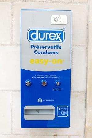 Public durex condom vending machine outside in a France town Editöryel