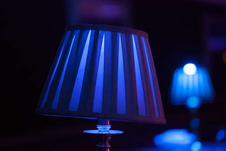 Blue Lampshade lighting tables at an evening event