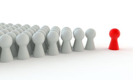 Red game figure in front of a group of white figures isolated on white background
