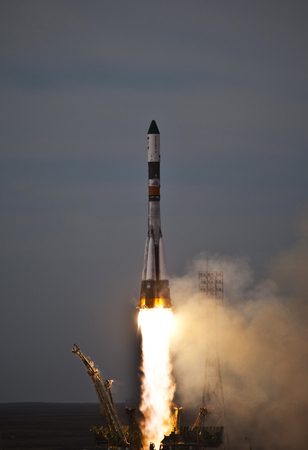 Baikonur, Kazakhstan - April 04, 2010. Real rocket Progress in flight, and launch rocket from the Baikonur Cosmodrome. A flying rocket in the sky. Editorial