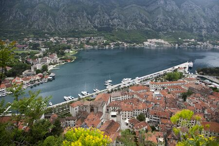 Beautiful view of Kotor, Montenegro, from a birds eye view. 版權商用圖片