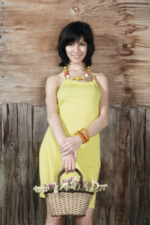 Beautiful young woman in yellow dress outdoor portrait Stock Photo - 15408191