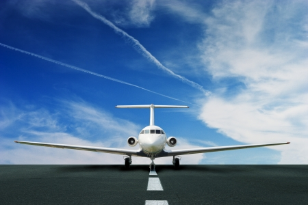 private airplane: Commercial airliner on running stripe Stock Photo