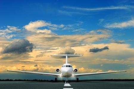 jet plane: Commercial airliner on running stripe Stock Photo
