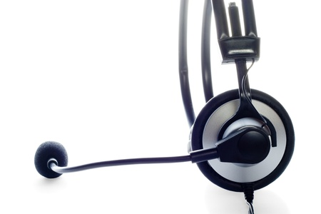 Modern headset with microphone isolated over white Stock Photo
