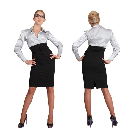 rear views: Two businesswoman in formal wear - front and rear view composed over white background