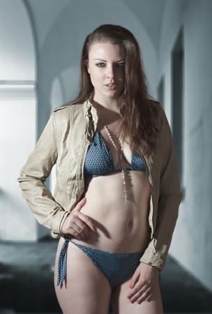perfect face: Beautiful young woman in swimwear fashion shot