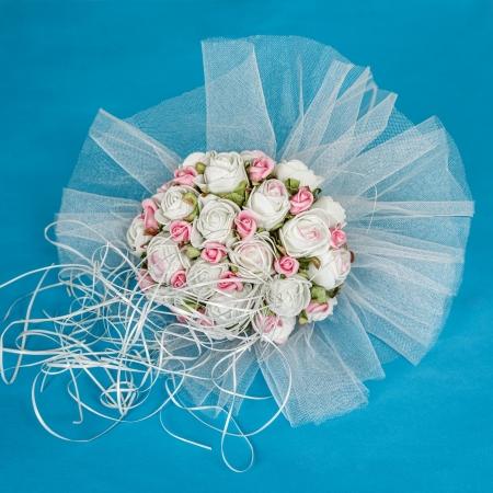 Wedding bouquet decoration on blue background